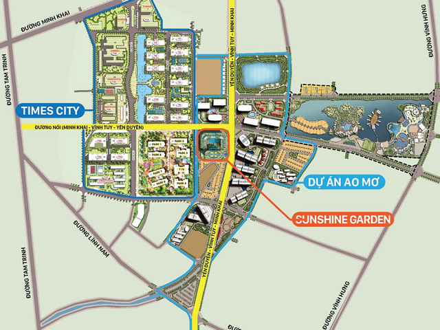 Dự án Sunshine Garden tọa lạc ngay trên tuyến đường nối Uyên Duyên- Vĩnh Tuy - Minh Khai.