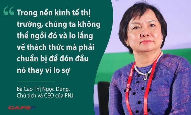 Bà Cao Thị Ngọc Dung nói về cách thức mà PNJ sử dụng để vượt qua khó khăn và thách thức trong giai đoạn hội nhập. Ngoài ra, bà Dung cũng nhấn mạnh vào việc xây dựng các giá trị cốt lõi cũng như sứ mệnh và tầm nhìn, điều cả lãnh đạo và nhân viên của PNJ đều thấm nhuần. Đó là cách xây dựng thương hiệu hiệu quả mà PNJ đã và đang thực hiện.