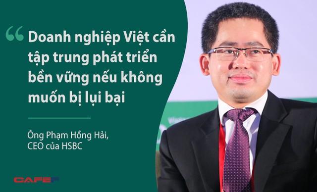 Ông Phạm Hồng Hải, CEO của HSBC, khẳng định khi nhắc tới thách thức của doanh nghiệp Việt. Là ngân hàng toàn cầu, HSBC sẵn sàng chào mời các tập đoàn lớn vay với lãi suất ưu đãi thậm chí còn rẻ hơn cả lãi suất huy động nhưng cũng sẵn sàng quay lưng với doanh nghiệp vừa và nhỏ. Theo ông Hải, đây là cơ hội lớn với ngân hàng Việt Nam.