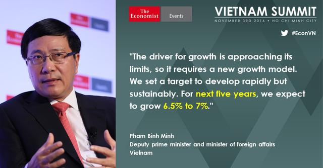 Phó Thủ tướng, bộ trưởng Ngoại giao Phạm Bình Minh cho biết những lợi thế từng là thế mạnh của Việt Nam đã tới hạn nên cần tìm kiếm một mô hình tăng trưởng mới.