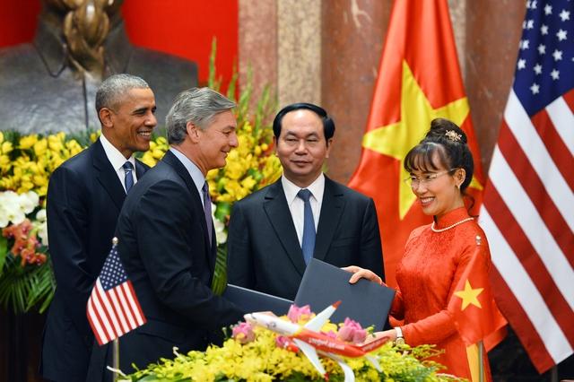 Vietjet đặt mua 100 tàu bay của Boeing nhân dịp Tổng thống Mỹ Barack Obama sang thăm Việt Nam