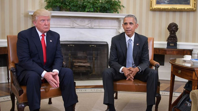Obama tiếp Donald Trump tại Nhà Trắng. Ảnh: Getty