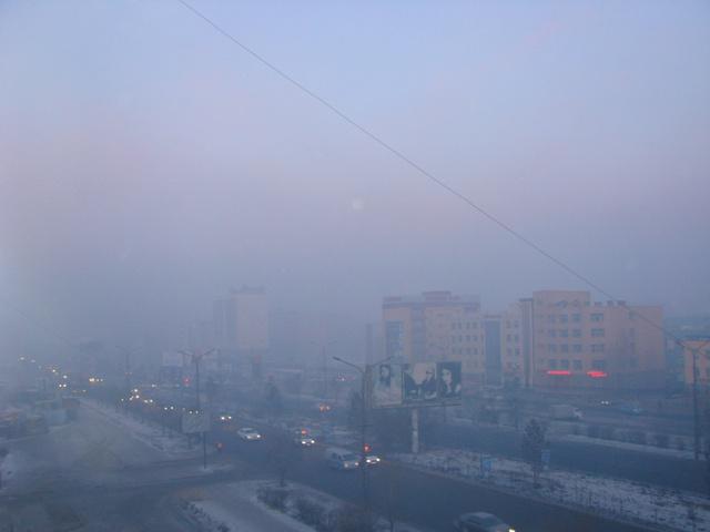 Tầm nhìn bị hạn chế vì không khí ô nhiễm.