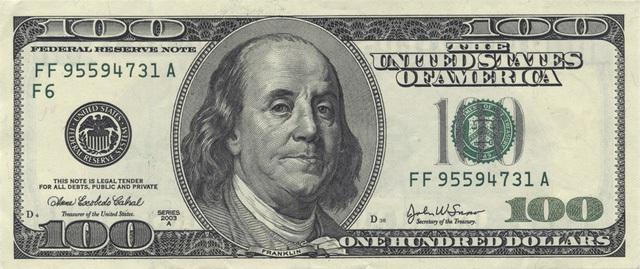Benjamin Franklin là người có mặt trên đồng 100 USD.