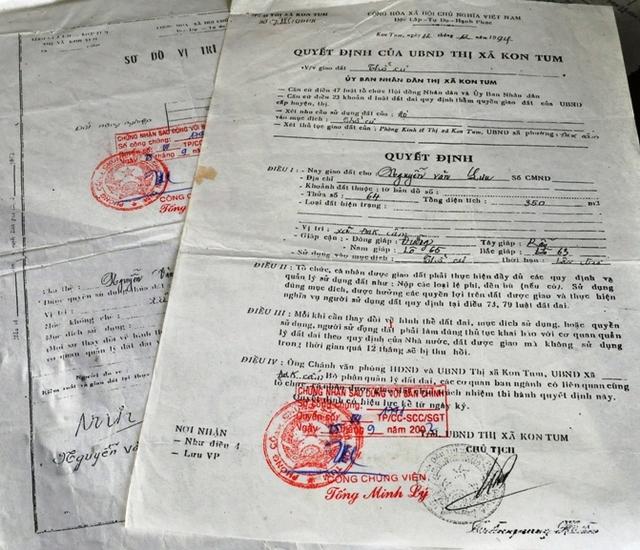 Quyết định giao đất của UBND thị xã Kon Tum chỉ có trên giấy.
