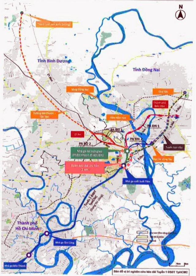 Sơ đồ tuyến metro số 1 TP.HCM về Bình Dương, Đồng Nai