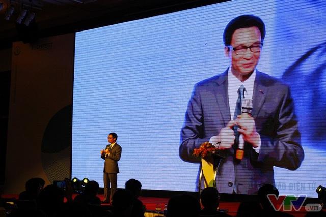 Phó Thủ tướng Vũ Đức Đam tới dự và phát biểu lễ khai mạc Techfest Vietnam 2016.
