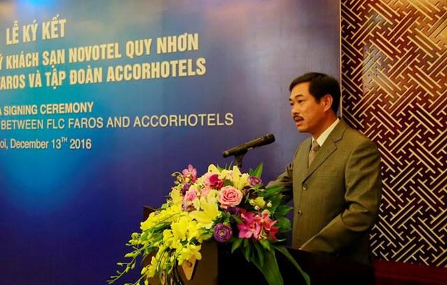 Ông Đỗ Như Tuấn - Tổng giám đốc Công ty CPXD FLC Faros phát biểu tại buổi lễ.