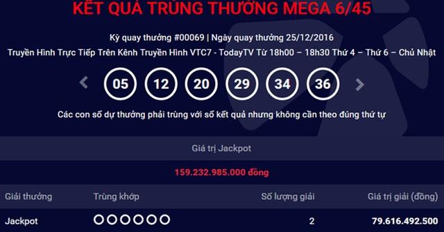 Kỳ quay thứ 69 xổ số Mega 6/45 ngày 25/12 đã tìm được 2 người trúng giải đặc biệt với tổng trị giá giải thưởng gần 160 tỷ đồng.