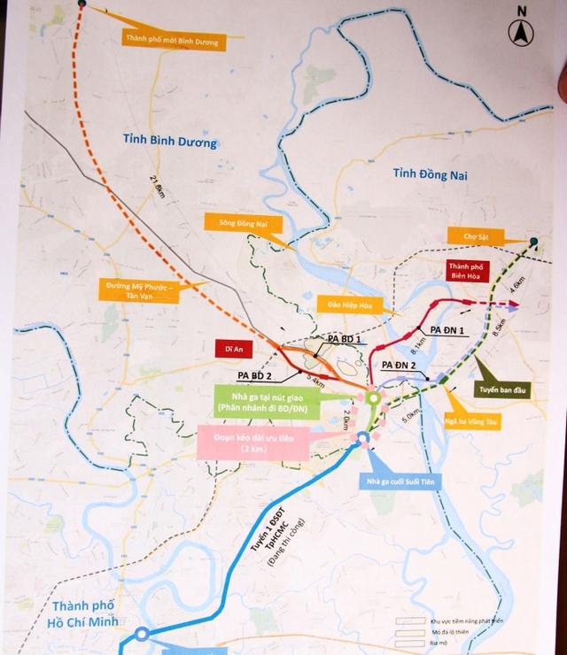 Bản đồ các phương án được đơn vị Tư vấn đề xuất kéo dài tuyến Metro số 1 đến Biên Hòa (Đồng Nai).