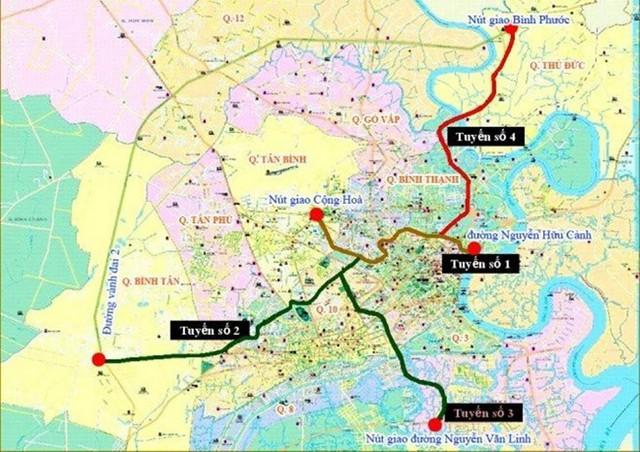Sơ đồ 5 tuyến đường trên cao củaTP.HCM.