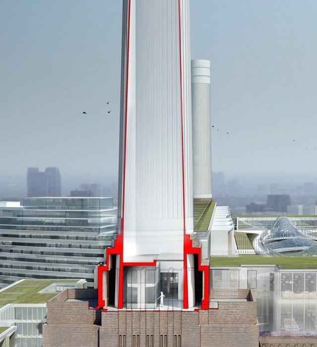 4 ống khói của nhà máy điện cũ sẽ được xây dựng thành 4 tòa tháp có thang máy cùng kính trong suốt giúp mọi người có thể quan sát quang cảnh thành phố từ bên trong.