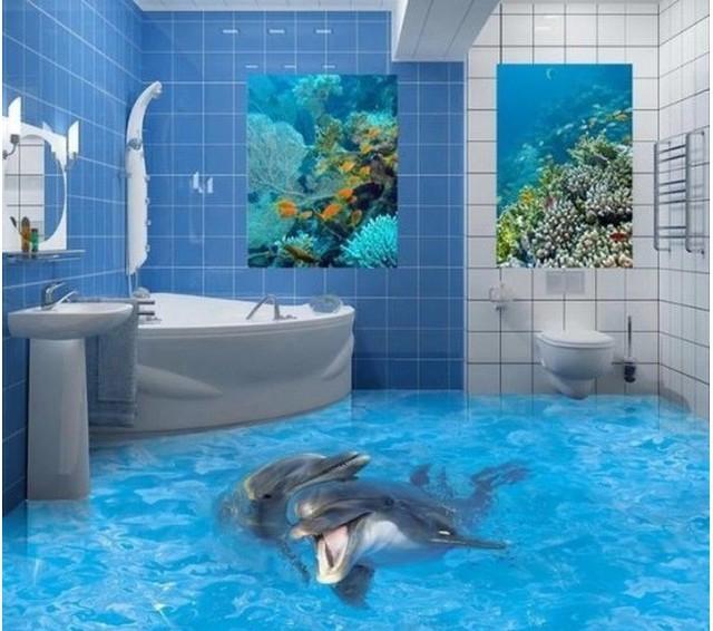 Bạn chắc chắn sẽ cảm thấy cực kỳ thư thái khi được ngâm mình ở bồn tắm, ngắm nhìn những đàn cá bơi lội ngay dưới chân với phòng tắm công nghệ 3D này.