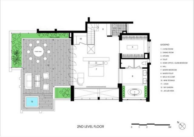 Sơ đồ tầng 2 của căn hộ.