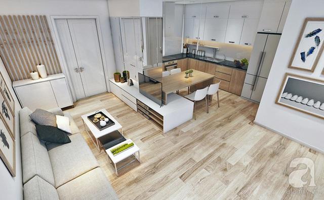 Tổng quan khối phòng khách - bếp nhìn từ trên cao xuống.