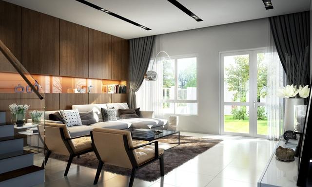 Không gian nội thất mở rộng nhưng vẫn ấm cúng, riêng tư.
