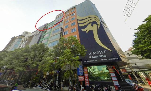 Hình ảnh sầm uất của khu phố nhà hàng, karoke ở phố Trần Thái Tông trước khi xảy ra vụ cháy - Ảnh: Google map