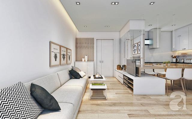 Bộ sofa dài với 3 khối ghép lại giúp phòng khách rộng rãi hơn.