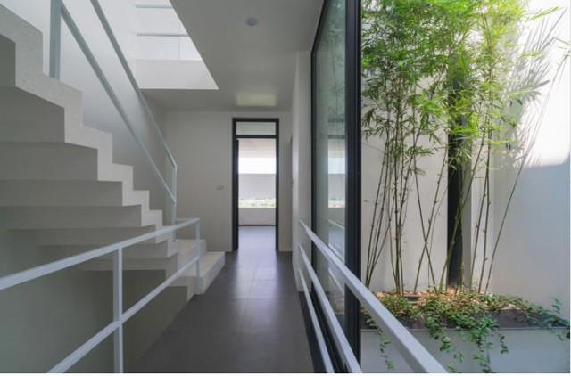 Trên tầng 3 là hai phòng ngủ hai bên với mỗi phòng là khu vệ sinh riêng. Góc giếng trời thông với tầng 2 được trồng thêm những khóm trúc khiến không gian nơi đây vô cùng xanh mát.