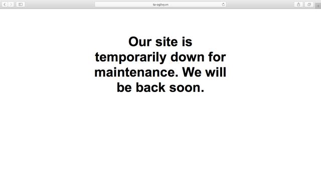 Giao diện trang web của công ty T&A Ogilvy khoảng 1h - 6h30 sáng ngày 2/12