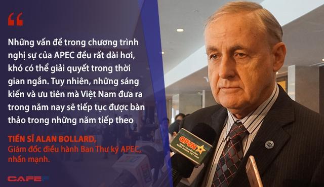 Những vấn đề trong chương trình nghị sự của APEC đều rất dài hơi, khó có thể giải quyết trong thời gian ngắn. Tuy nhiên, các sáng kiến và ưu tiên mà Việt Nam đưa ra trong năm nay sẽ tiếp tục được bàn thảo trong các năm thứ hai - Tiến sĩ Alan Bollard, Giám đốc điều hành Ban Thư ký APEC, nhấn mạnh.