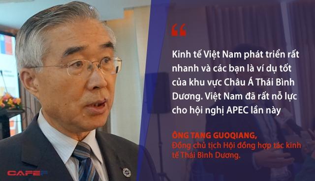 Kinh tế Việt Nam phát triển rất nhanh và 1 số khách mua là ví dụ tốt của khu vực Châu Á Thái Bình Dương. Việt Nam đã rất nỗ lực cho hội nghị APEC lần này - Đồng chủ tịch Hội đồng hợp tác kinh tế Thái Bình Dương, ông Tang Guoqiang.