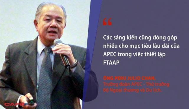 Tôi phân tách cao sáng kiến của Việt Nam khi họ tạo điều kiện thuận lợi để thúc đẩy thương mại tự do và hội nhập trong APEC. Các sáng kiến cũng đóng góp nhiều cho mục tiêu lâu dài của APEC trong việc thiết lập Hiệp định Thương mại tự do khu vực châu Á – Thái Bình Dương (FTAAP). - Trưởng đoàn APEC - Thứ trưởng Bộ Ngoại thương và Du lịch Peru Julio Chan.