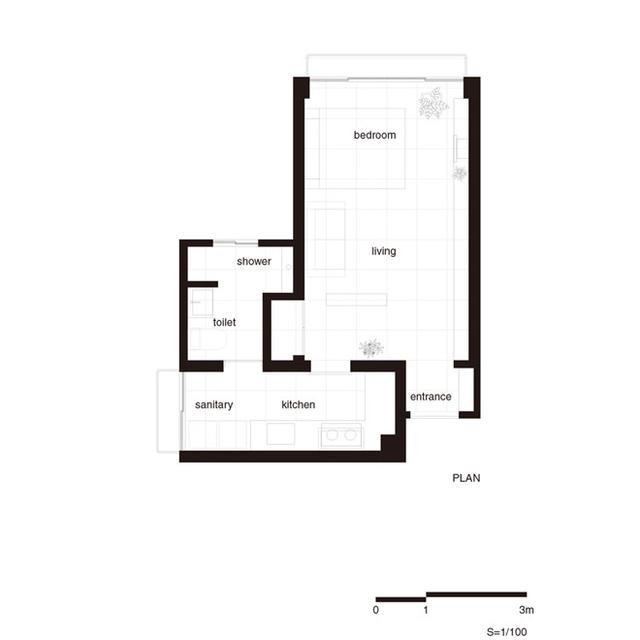 Toàn bộ sơ đồ bố trí không gian căn hộ chung cư.