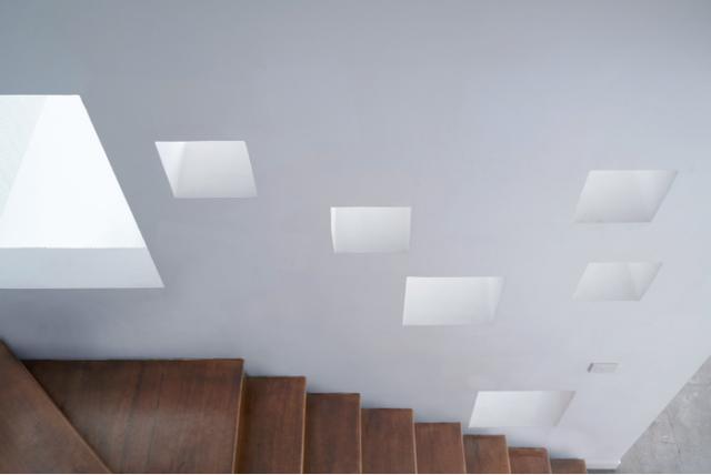 Toàn bộ cầu thang dẫn lên các tầng trên được ốp gỗ sạch sẽ.