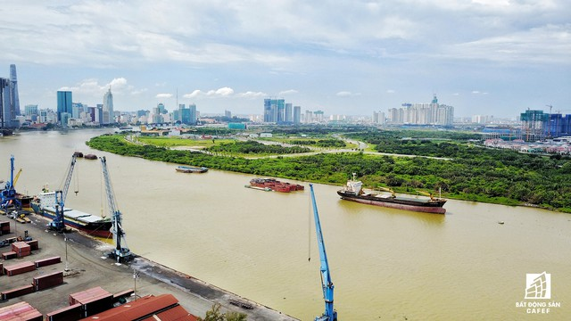 Vị trí sẽ được xây dựng cầu Thủ Thiêm 3 kết nối khu đô thị Thủ Thiêm với quận 4.