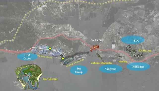 Bao quanh vịnh Hạ Long, bắt đầu mọc lên hàng loạt dự án BĐS cao cấp. Những dự án này đều thuộc về các ông lớn địa ốc.