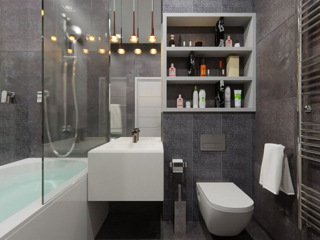 Mọi thứ nội thất điều rất hiện đại, sang trọng. Những chiếc tủ, kệ âm tường được tận dụng tối đa để tiết kiệm diện tích.