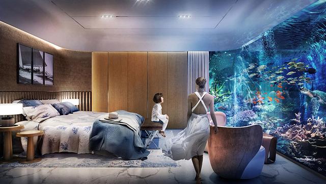 Phòng ngủ cao cấp và phòng giải trí dưới nước rộng khoảng 80m2, được bao bọc bởi kính toàn phần giúp mở rộng tầm nhìn khắp khoảng san hô tự nhiên.