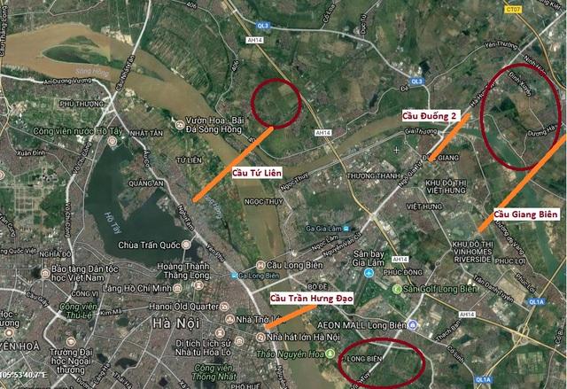 Quỹ đất dự kiến phát triển đô thị đối ứng xây dựng cầu mới (khu vực khoanh đỏ).