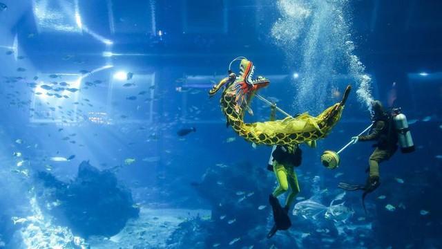 Múa rồng dưới nước, chương trình biểu diễn nghệ thuật đặc biệt mừng năm mới âm lịch tại Khu nghỉ dưỡng Sentosa, Singapore. Ảnh: AP