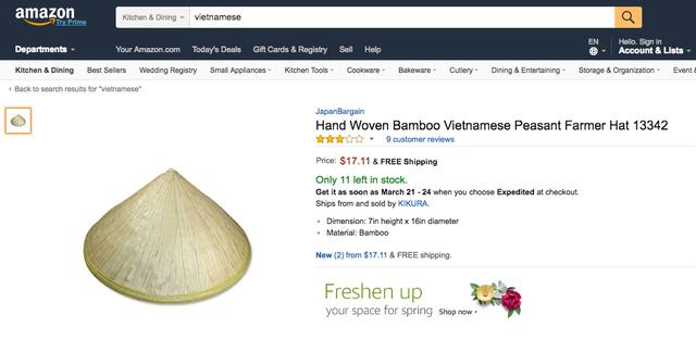 Nón lá Việt Nam được bán trên Amazon giá 17,11 USD, tương đương hơn 400.000 đồng.