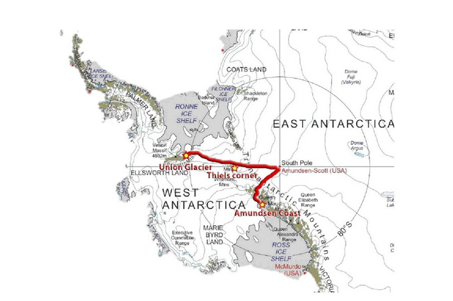 Lộ trình chuyến đi xuyên Nam Cực