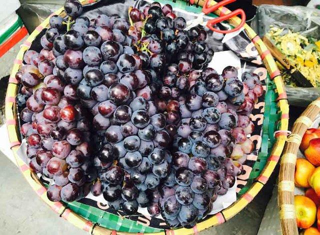 Trên thị trường đang bán tràn lan loại nho chùm to, quả ngọt và không hạt