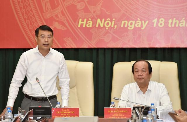 Thống đốc NHNN Lê Minh Hưng và Bộ trưởng, Chủ nhiệm VPCP Mai Tiến Dũng tại buổi làm việc. - Ảnh: VGP/Nhật Bắc