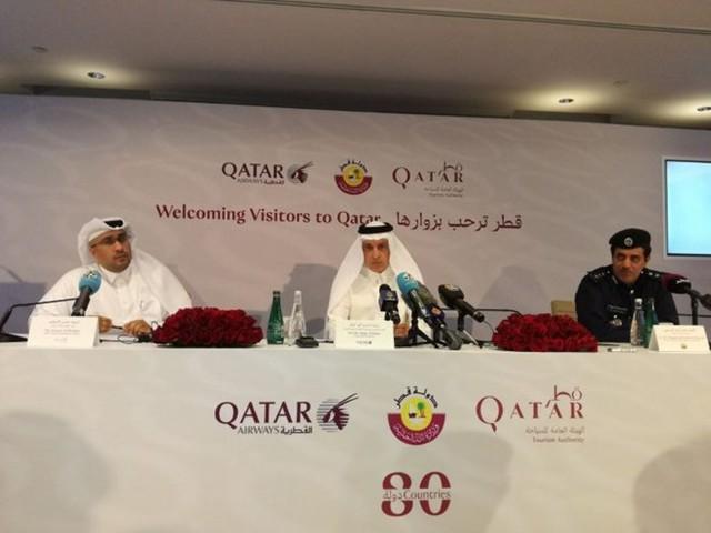 Các quan chức Qatar thông báo chính sách visa mới tại một cuộc họp báo. (Nguồn: thepeninsulaqatar.com)