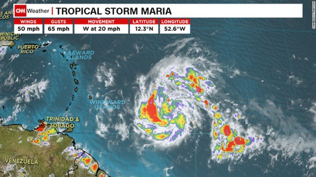 Bão Maria có nguy cơ di chuyển giống bão Irma. Ảnh: EPA