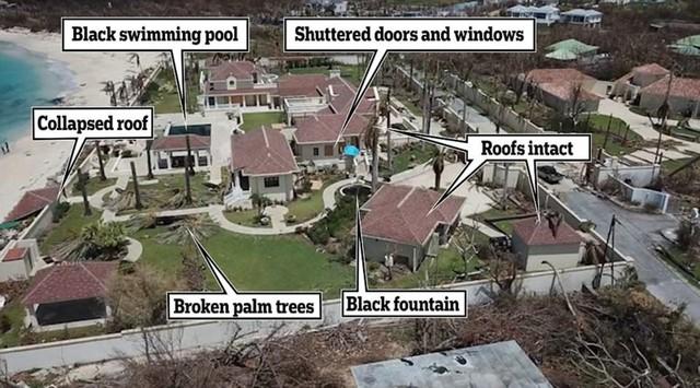 Bức hình cho thấy căn villa bị tàn phá nghiêm trọng có rừng cọ xung quanh bị quật gãy hoàn toàn, nhiều nơi tốc mái, vòi phun nước bị gãy đổ và cửa kính bị gió đánh vỡ. Ảnh: DM