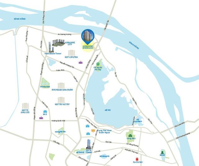 Dự án nằm ngay ở chân cầu Nhật Tân, từ dự án có thể tiện dụng phóng tầm nhìn ra mặt Hồ Tây rộng lớn và sông Hồng.