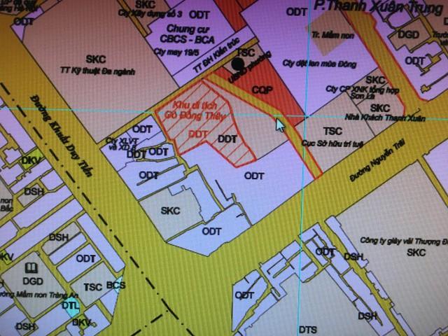 Đường nối từ ngõ 12 Khuất Duy Tiến ra đường Nguyễn Trãi (có mũi tên) trên bản đồ do UBND quận Thanh Xuân đưa ra lấy ý kiến nhân dân.