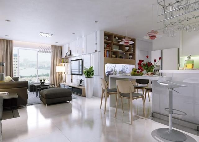 Không gian sinh hoạt chung phòng khách và bếp được bố trí mở khiến tầm nhìn trở nên rộng thoáng và đẹp.