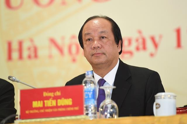 Bộ trưởng, Chủ nhiệm VPCP Mai Tiến Dũng chủ trì họp báo. Ảnh: VGP/Quang Hiếu