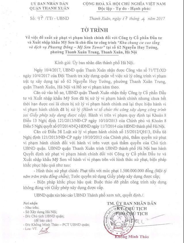 Tờ trình số 47/TTr-UBND ngày 17/4/2017 của UBND quận Thanh Xuân gửi UBND TP Hà Nội