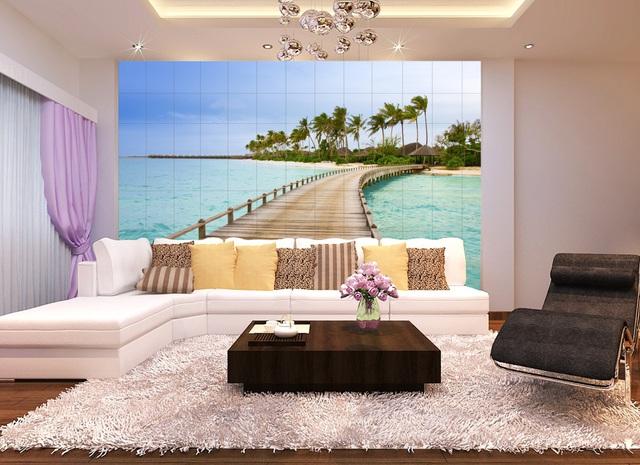 Là không gian tiếp khách nên 1 số bức tranh về tĩnh vật hoặc tranh cảnh quan là chủ đề thích hợp nhất để 1 số gia đình có không gian ấm áp và đẹp cho phòng khách.