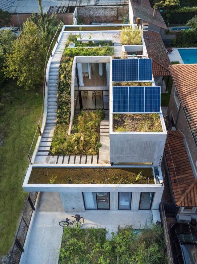 Với thiết kế đặc trưng, ngôi nhà tạo nên một vài khu vườn liên cấp từ tầng 1 lên mái.