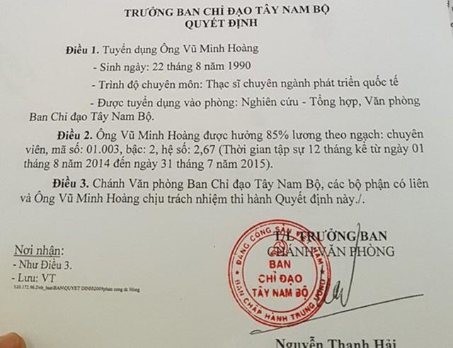 Quyết định tuyển dụng ông Hoàng về làm việc tại Ban Chỉ đạo Tây Nam Bộ. Ảnh: Zing